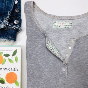 Anthropologie Pure Good Gray Henley Long Sleeve